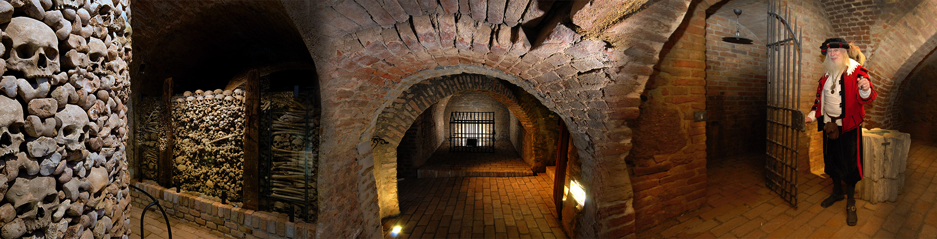 Unique and mysterious atmosphere of the maze of medieval corridors and cellars